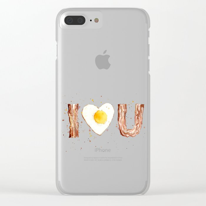 Bacon and Egg Love Valentines Day Heart Clear iPhone Case