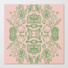 Modern Icons - Tattoo - Day of the Dead - Pink and Green Canvas Print