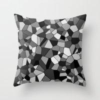 gray pattern Throw Pillows featuring Gray Monochrome Mosaic Pattern by Margit Brack