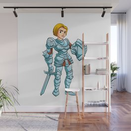 Warrior Princess With Battle sword and Shield Wall Mural