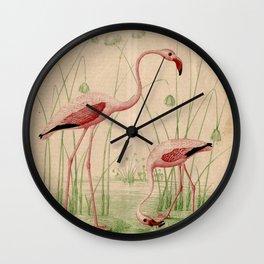 2 Flamingos Wall Clock