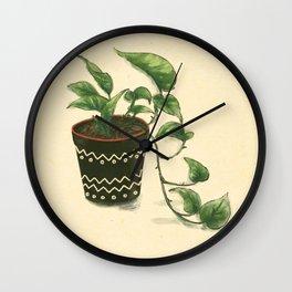 Golden Pothos in Clay Pot Wall Clock