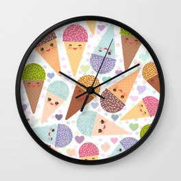 Kawaii funny Ice cream waffle cone, with pink cheeks and winking eyes Wall Clock