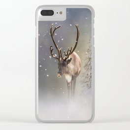 Santa Claus Reindeer in the snow Clear iPhone Case