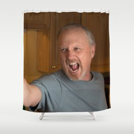 Angry Man with handgun in kitchen Shower Curtain