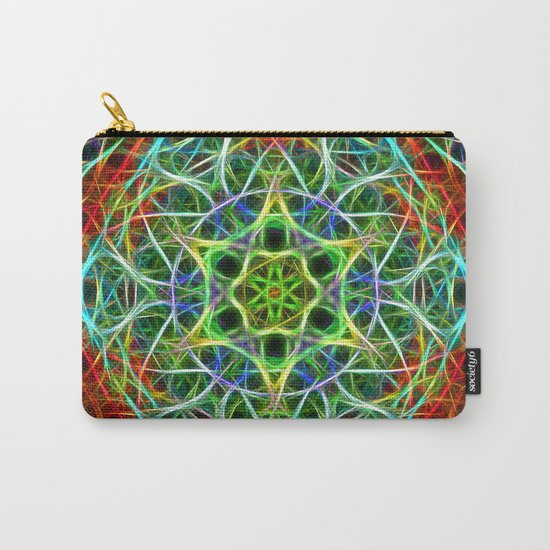 Feathered texture mandala in green and brown Carry-All Pouch