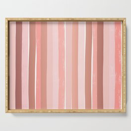 Striped minimal abstract painting modern color pinks metallics decor and art Serving Tray