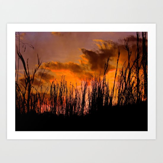 Fall's First Sunset Art Print
