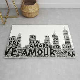 Brooklyn New York Buildings illustrated with Love Word of different languages Rug