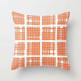 Mid Century Modern Abstract Squares Orange Throw Pillow