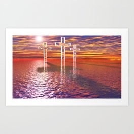 Christian crosses on red sea Art Print