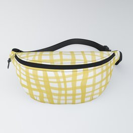 Watercolor doodle gingham - yellow Fanny Pack