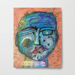 Meet Sebastian aka Sebi, an Intriguing Face Metal Print