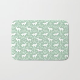 Border Collie silhouette minimal floral florals dog breed pet pattern mint and white Bath Mat