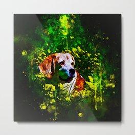 beagle dog flower field splatter watercolor Metal Print