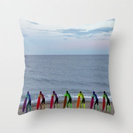 Patient Surfer - Neon - Waiting In Line Throw Pillow
