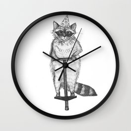 party raccoon on a pogo stick Wall Clock