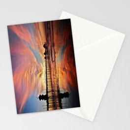 Pink Sunset Reflections  ~ Huntington Beach Pier CA Stationery Cards