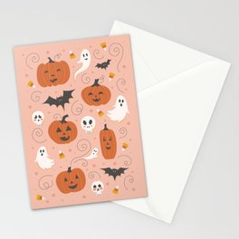 Pumpkin Party on Blush Pink Stationery Cards