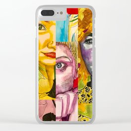 Female Faces Portrait Collage Design 1 Clear iPhone Case