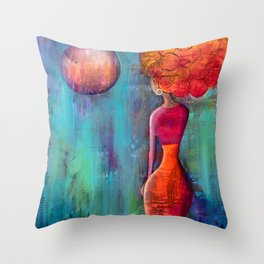 She Talks To The Moon Throw Pillow