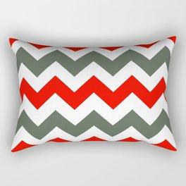 Chevron Pattern In Poppy Red Grey and White Rectangular Pillow