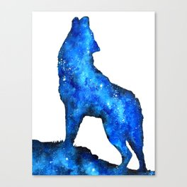 Howling Wolf   Space Wolf   Double Exposure Wolf   Wolf Painting   Blue Wolf Canvas Print
