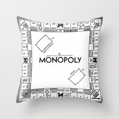 Monopoly Patent Art Board Game Apparatus black Throw Pillow