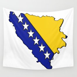 Bosnia and Herzegovina Map with Flag Wall Tapestry