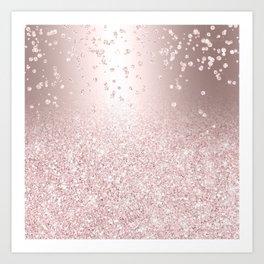 Rose gold glitter ombre metallic sparkles confetti Art Print