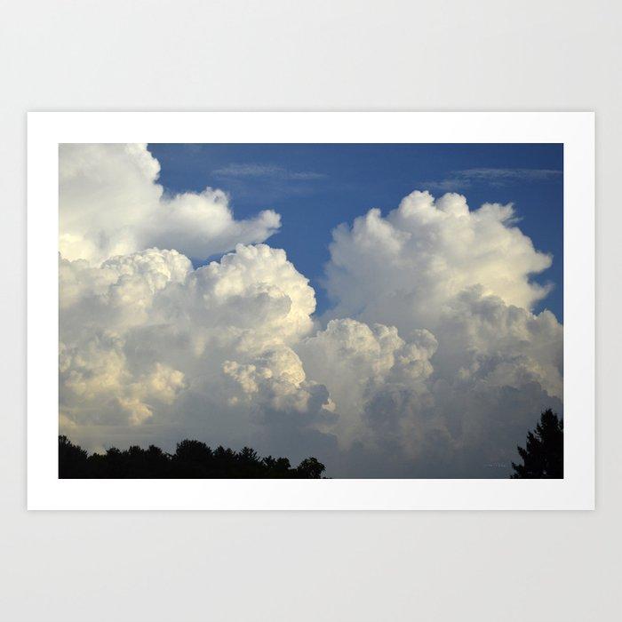 Billowing White Clouds Brilliant Blue Sky Art Print