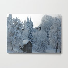 Lonely cabin in a snow Metal Print