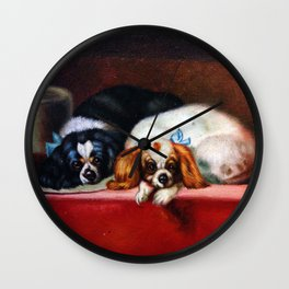 Toy Dogs Resting Before The Dog Show Wall Clock