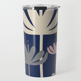 Bali Flowers Floral Pattern in Mustard, Pink, Gray, Champagne, and Navy Blue Travel Mug