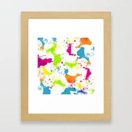 colorful paint blots Framed Art Print