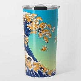 Shiba Inu in Great Wave Travel Mug
