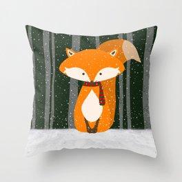 Fox Wintery Holiday Design Throw Pillow