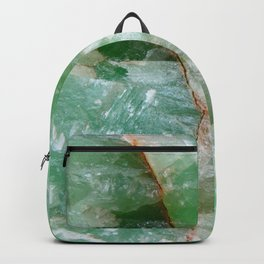 Crystalized Pale Green Quartz Slab with Copper Vein Backpack