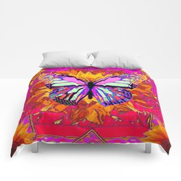 Rainbow Colored Butterfly On Red-fuchsia Sunflower Floral  Comforters