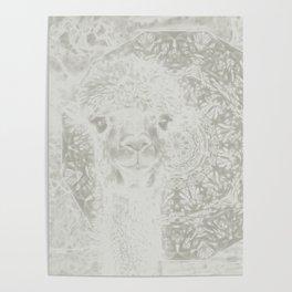 Ghostly alpaca and mandala Poster