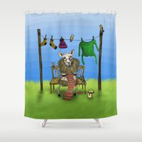 sheep Shower Curtains featuring Sheep by Anna Shell