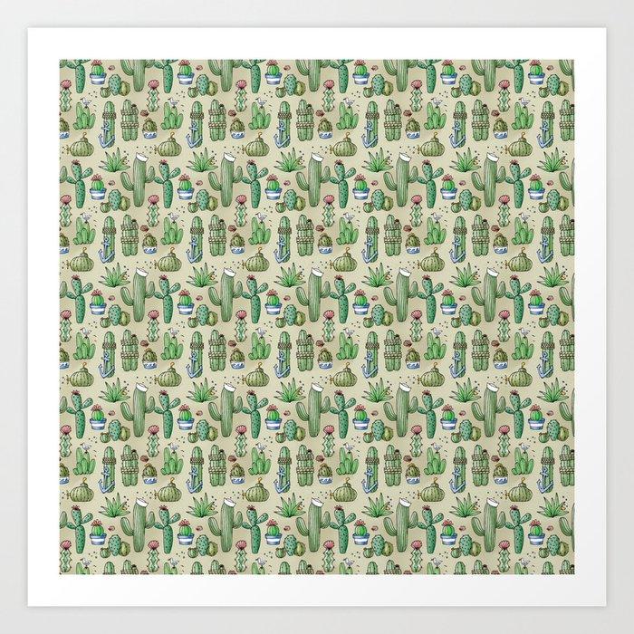 Salty Cacti Art Print