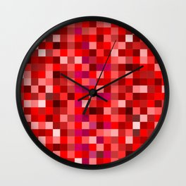 Red Pixel Wall Clock