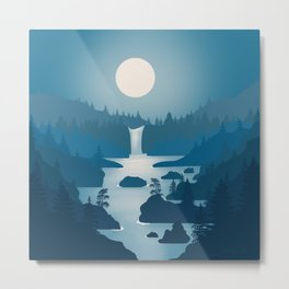 Night River - Minimal Art Metal Print