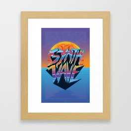 "Outrun 1980s Poster ""Synthwave"" Text Framed Art Print"
