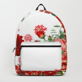 Vintage & Shabby Chic - Red Summer Flower Garden Backpack