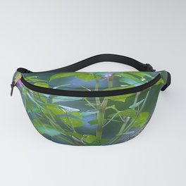 Exquisite Pink Wild Flowers Growing From Forest Log Fanny Pack