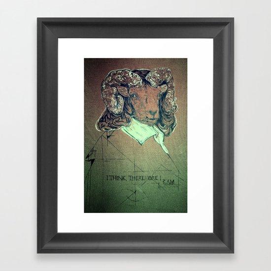 I think; therefore I ram. Framed Art Print