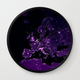 Earth Night Lit Up : Purple Wall Clock