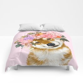 Shiba Inu with Flower Crown Comforters